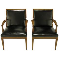 Pair of Stow Davis Black Leather and Walnut Sculptural Armchairs