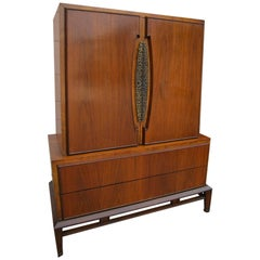 Lovely Hobey Helen Tall Walnut Dresser Chest, Mid-Century Modern