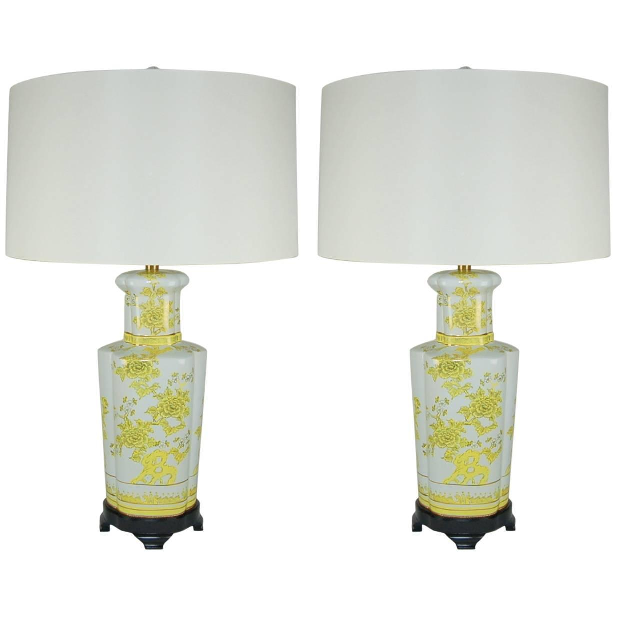 Antique porcelain table lamps - Pair Of Vintage Porcelain Lamps By The Marbro Lamp Company