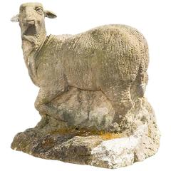 18th Century Sheep Garden Statue in Limestone