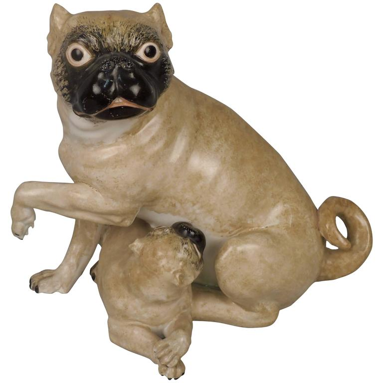 19th Century, Chamberlain Worcester English Porcelain Model of Pug Dog and Puppy