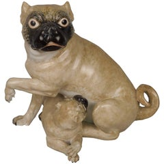 Antique Chamberlain Worcester English Porcelain Pug Mother Dog & Puppy Figurine