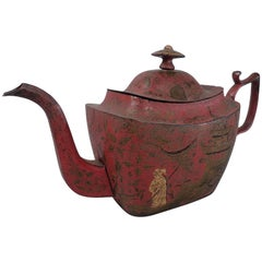 Antique Georgian Red Tole Peinte or Toleware Teapot with Chinoiserie Decoration