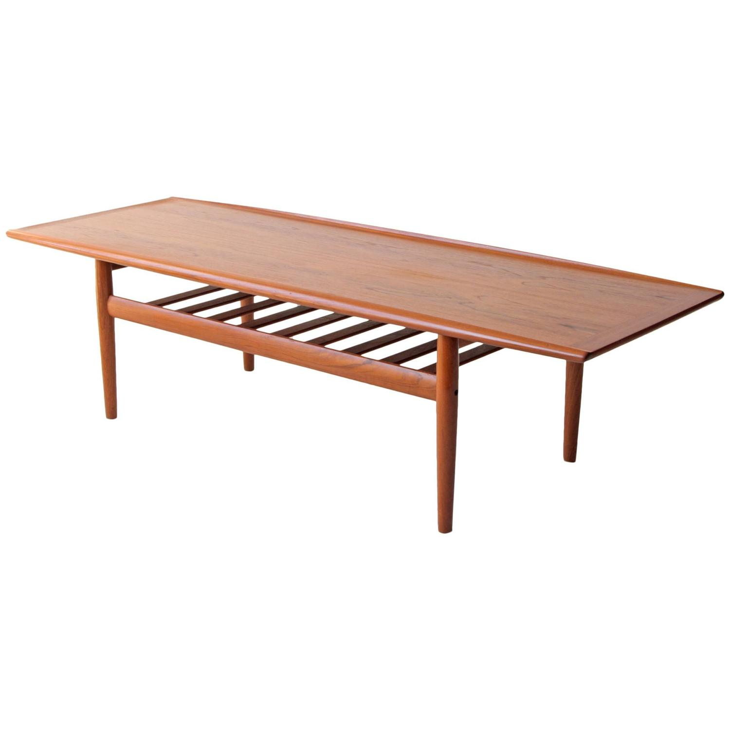 Grete jalk danish modern two tier teak coffee table at 1stdibs for Two small tables instead of coffee table