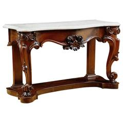 American Console Table in Mahogany with White Marble Top, circa 1835