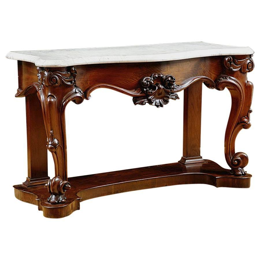 American Console Table In Mahogany With White Marble Top Circa 1835 For At 1stdibs