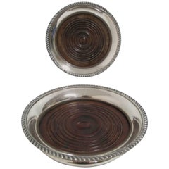 Pair of Antique Sheffield Wine Coasters