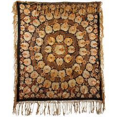 Vintage Embroidred Shawl, Hungary, Early 20th Century