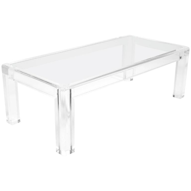 Elegant Lucite and Glass Coffee Table