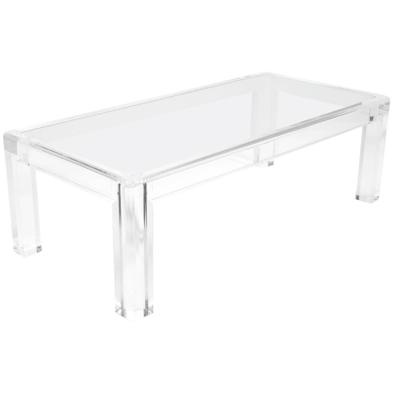 Elegant lucite and glass coffee table for sale at 1stdibs for Acrylic coffee tables for sale