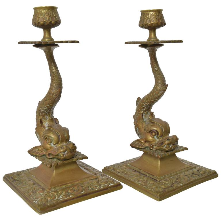 Pair Of Bronze Dolphin Candlesticks For Sale At 1stdibs