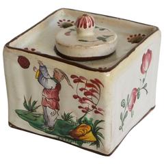 French Faience Chinoiserie Inkwell