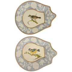Pair English Bird Plates