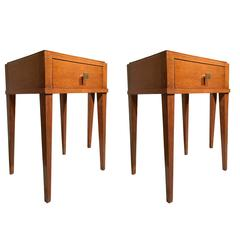 Jacques Adnet Oak Pair of Neoclassic Side Tables or Bedside Tables