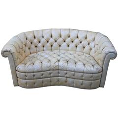 Leather Tufted Chesterfield Style Love Seat