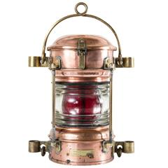 Large 19th Century French Copper and Brass Starboard Lantern with Red Glass