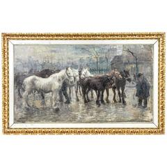 Large 19th Century French Impressionist Framed Oil on Canvas with Horses, Signed