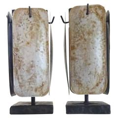 Rare Sculptural 1980s Robert Lee Morris Kinetic Iron and Steel Candleholders