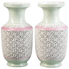 Pair of Continental Porcelain Pale Celadon Vases, circa 1890
