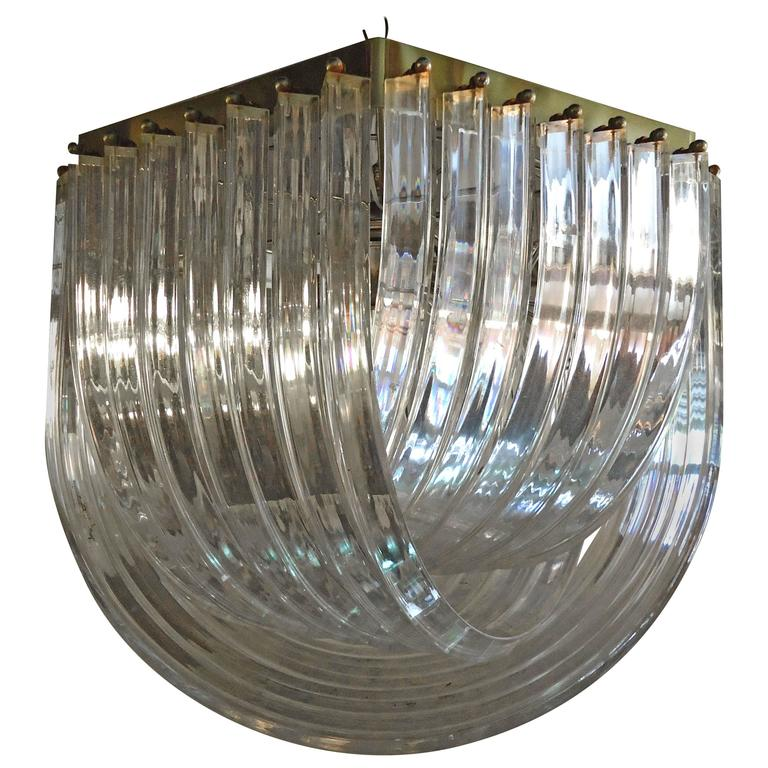 Beautiful Midcentury Brass and Lucite Banded Chandelier