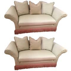 Pair of Plush Upholstered Custom Loveseats