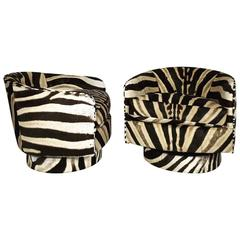 Milo Baughman 360 Degree Swivel and Tilt Club Chairs in Zebra Hide
