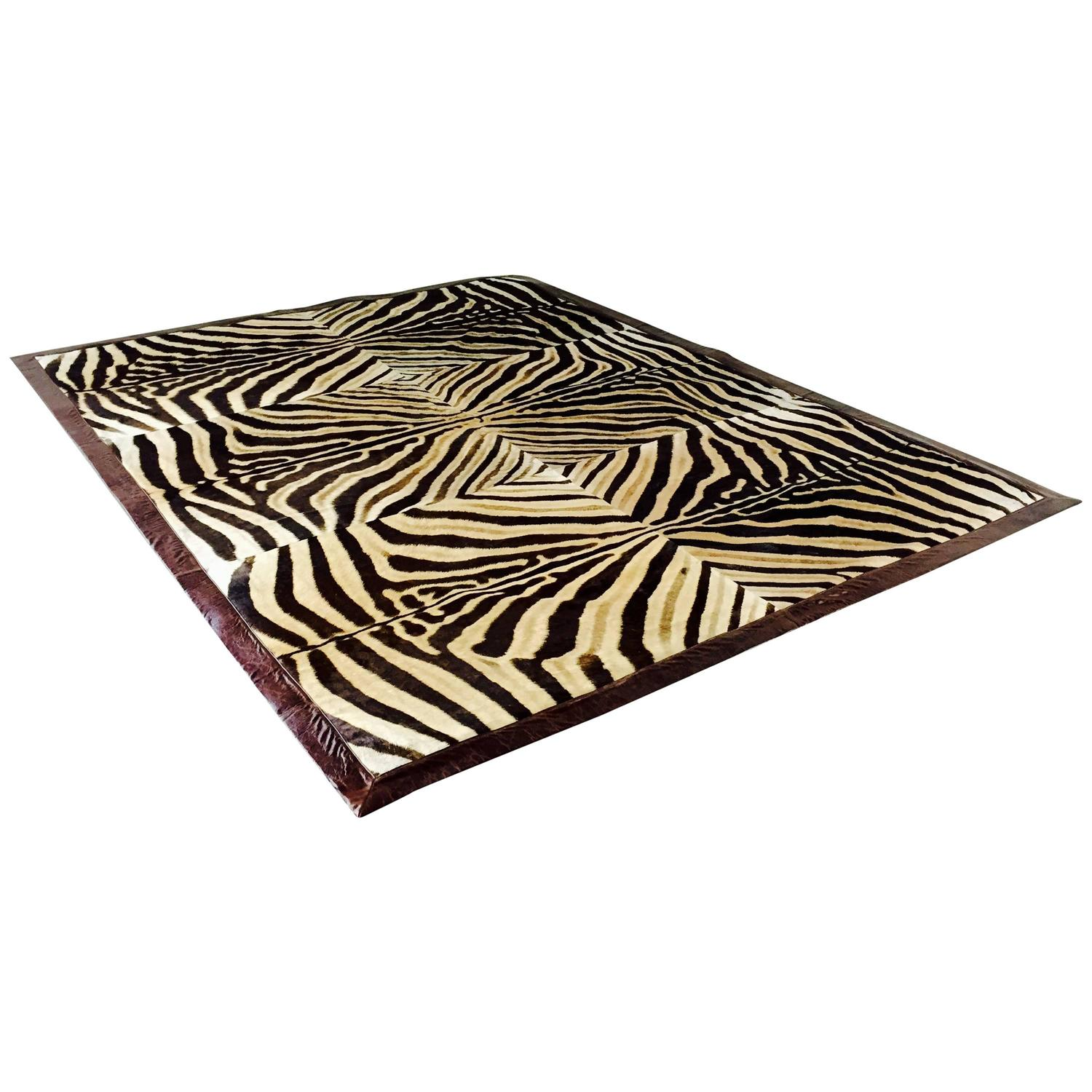Zebra Rug Handcrafted From Six Zebra Sides For Sale At