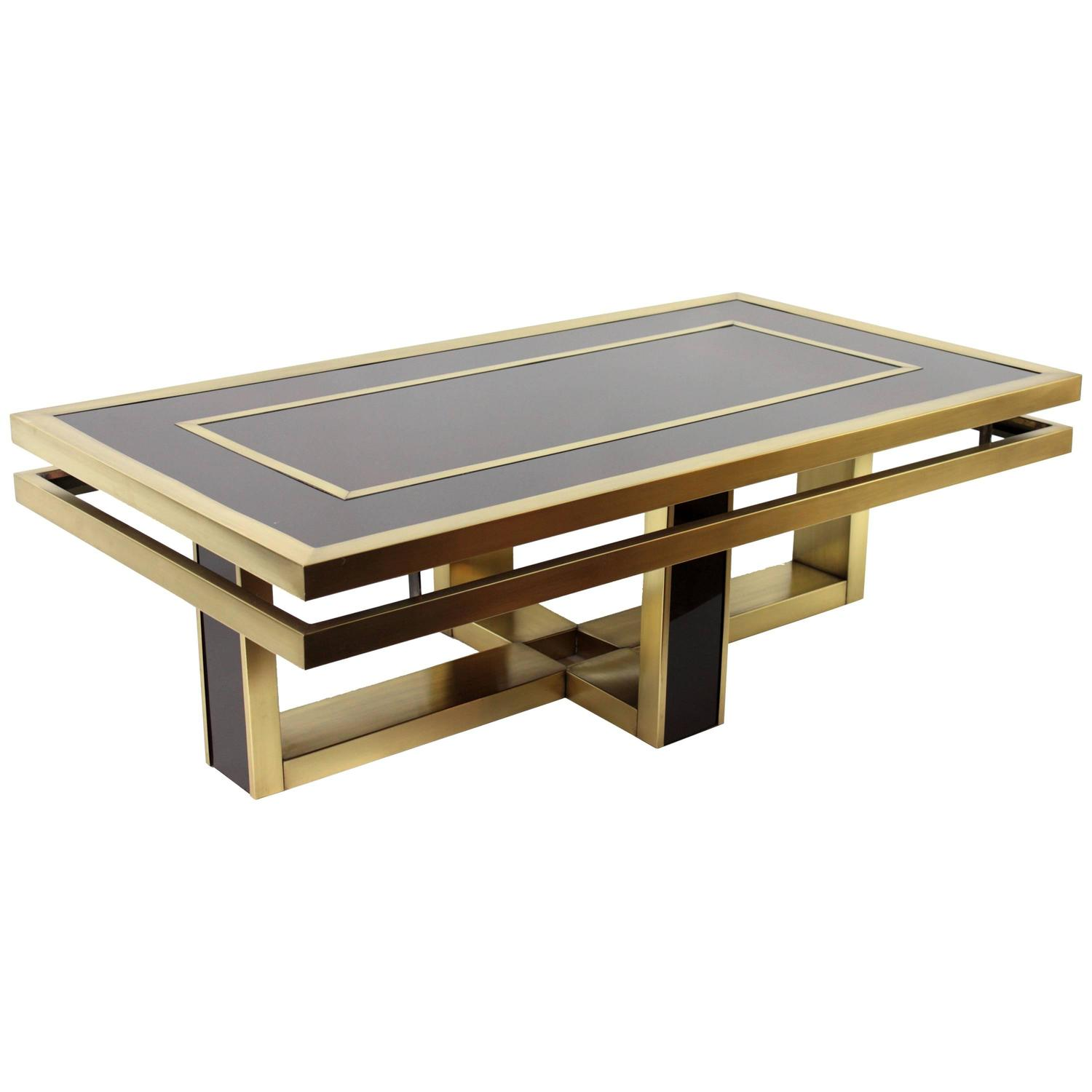 Italian 1960s Brown Glass And Brass Coffee Table In The Style Of Romeo Rega At 1stdibs