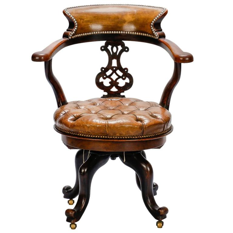 French Mahogany And Tufted Leather Swivel Desk Chair At