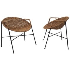 Rare Pair of Wrought Iron and Wicker Child Chairs by Salterini