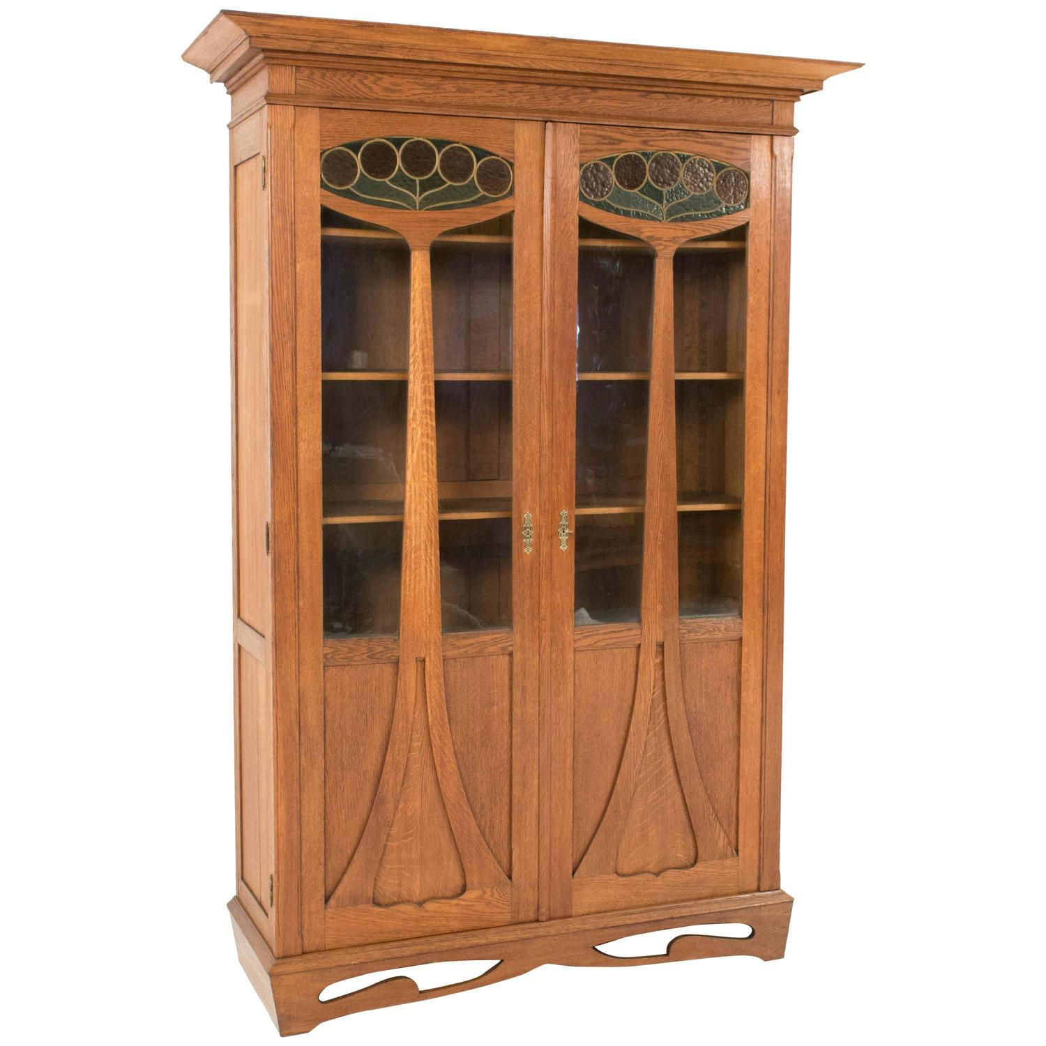 magnificent and rare arts and crafts bookcase with. Black Bedroom Furniture Sets. Home Design Ideas