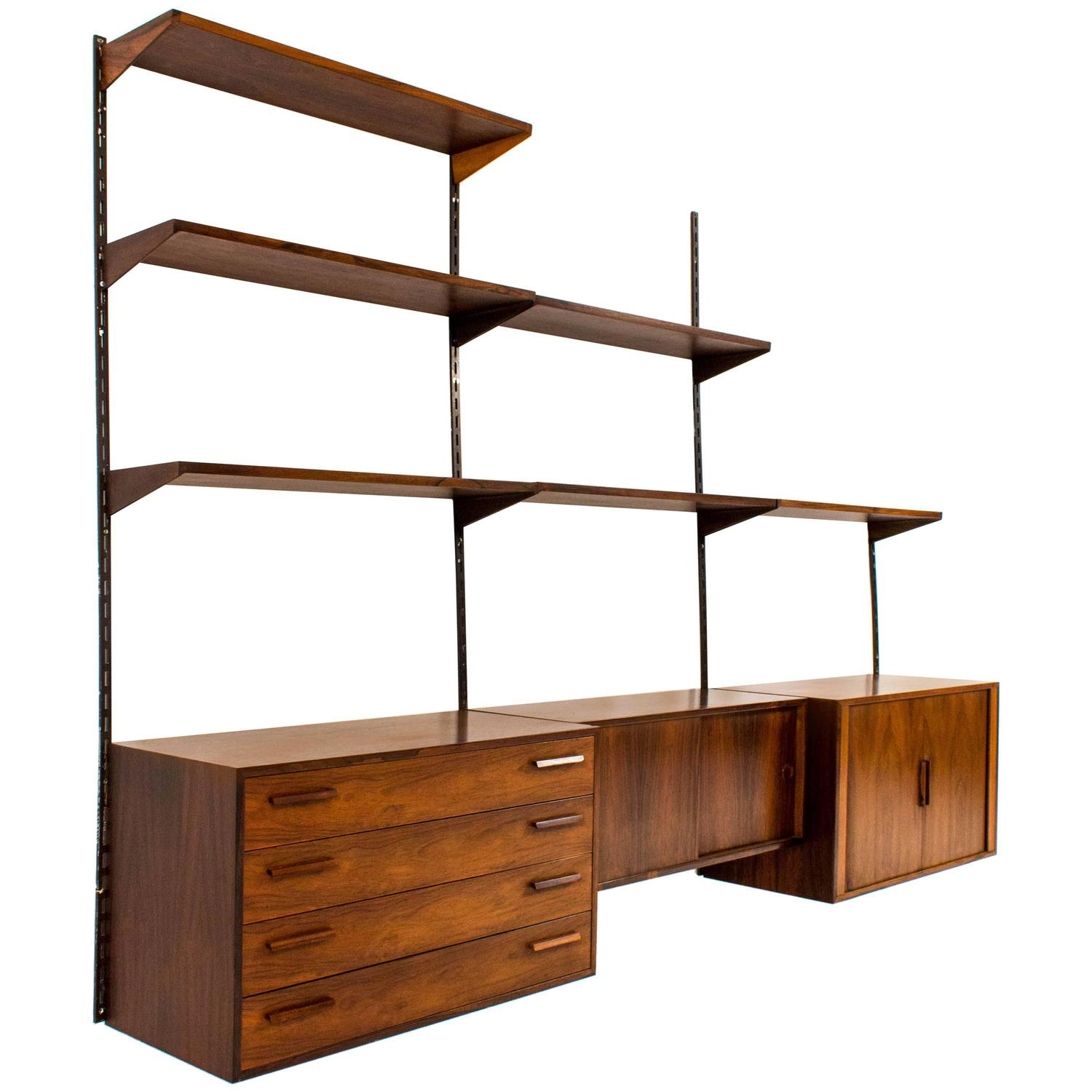 stylish wall mounted shelving unit by kai kristiansen for. Black Bedroom Furniture Sets. Home Design Ideas