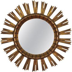 Early 20th Century French Giltwood Sunburst Mirror