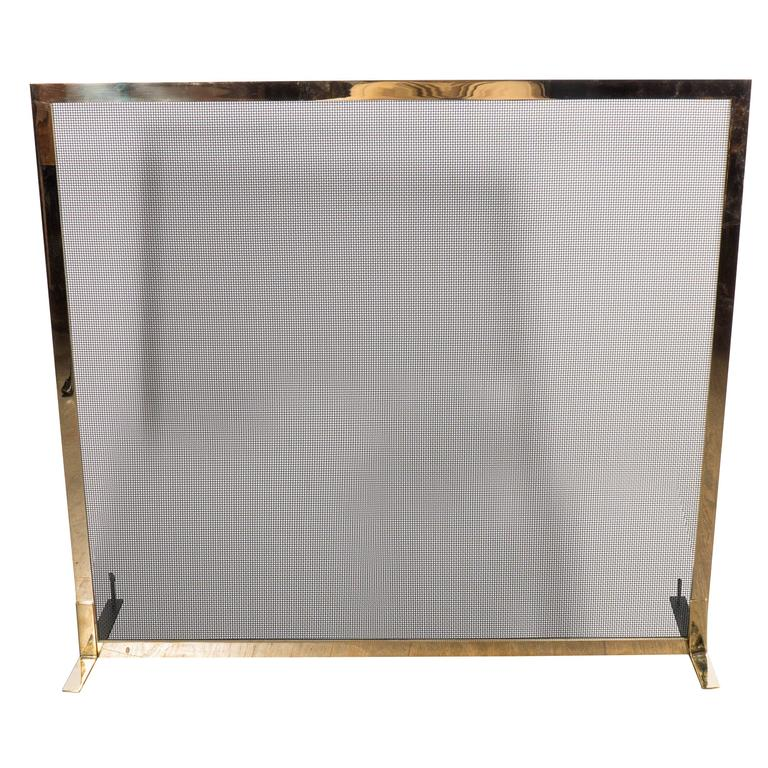 Ultra Chic Custom Minimalist Fire Screen Polished and Lacquered Brass