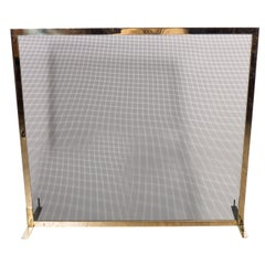 Custom Minimalist Fire Screen Polished & Lacquered Brass and Iron Mesh