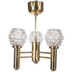 Sophisticated Three-Arm Chandelier in Brass with Crystal Shades by Richard Essig