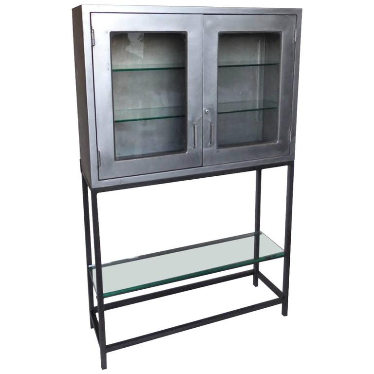vintage metal dentist cabinet with glass doors and custom