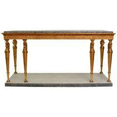 Very Large Swedish Empire Giltwood Eight Leg Console Table with a Marble Top