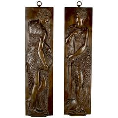 19th Century Barbedienne Bronze Bas-Relief Plaques of Maidens, Pair after Goujon