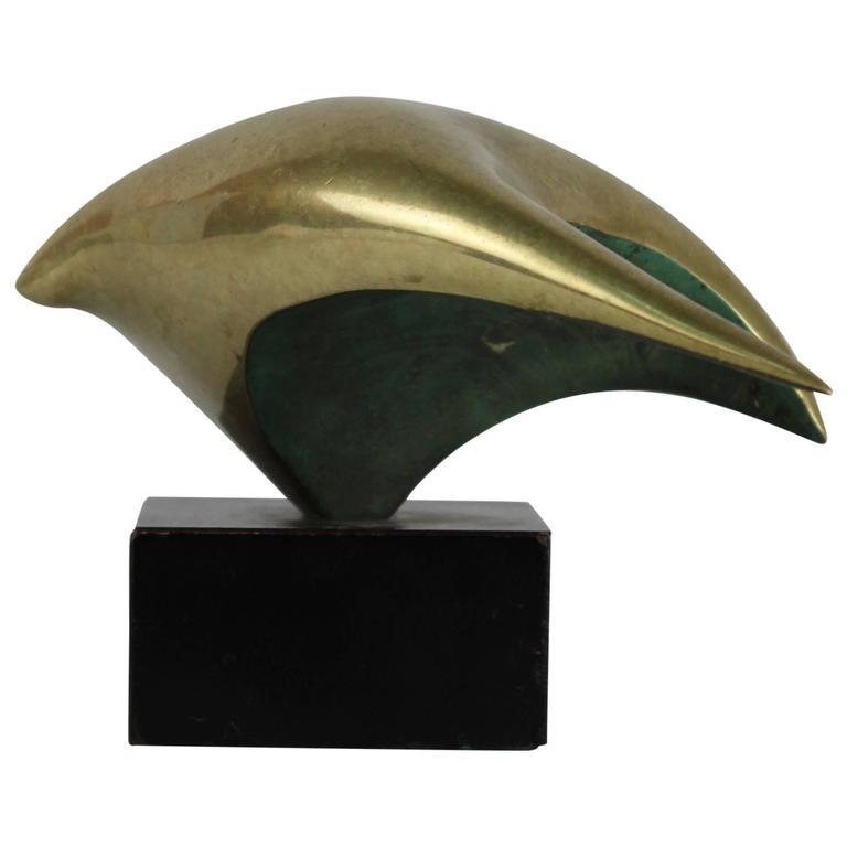 Brazilian Modernist Genevieve Derchain Gilt Bronze Abstract Sculpture of a Bird