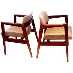 1950s American Modern solid Walnut  Pair of Armchairs by Gunlocke