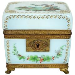 French White Opaline Jewelry Box with Painted Floral and Bird Decorations