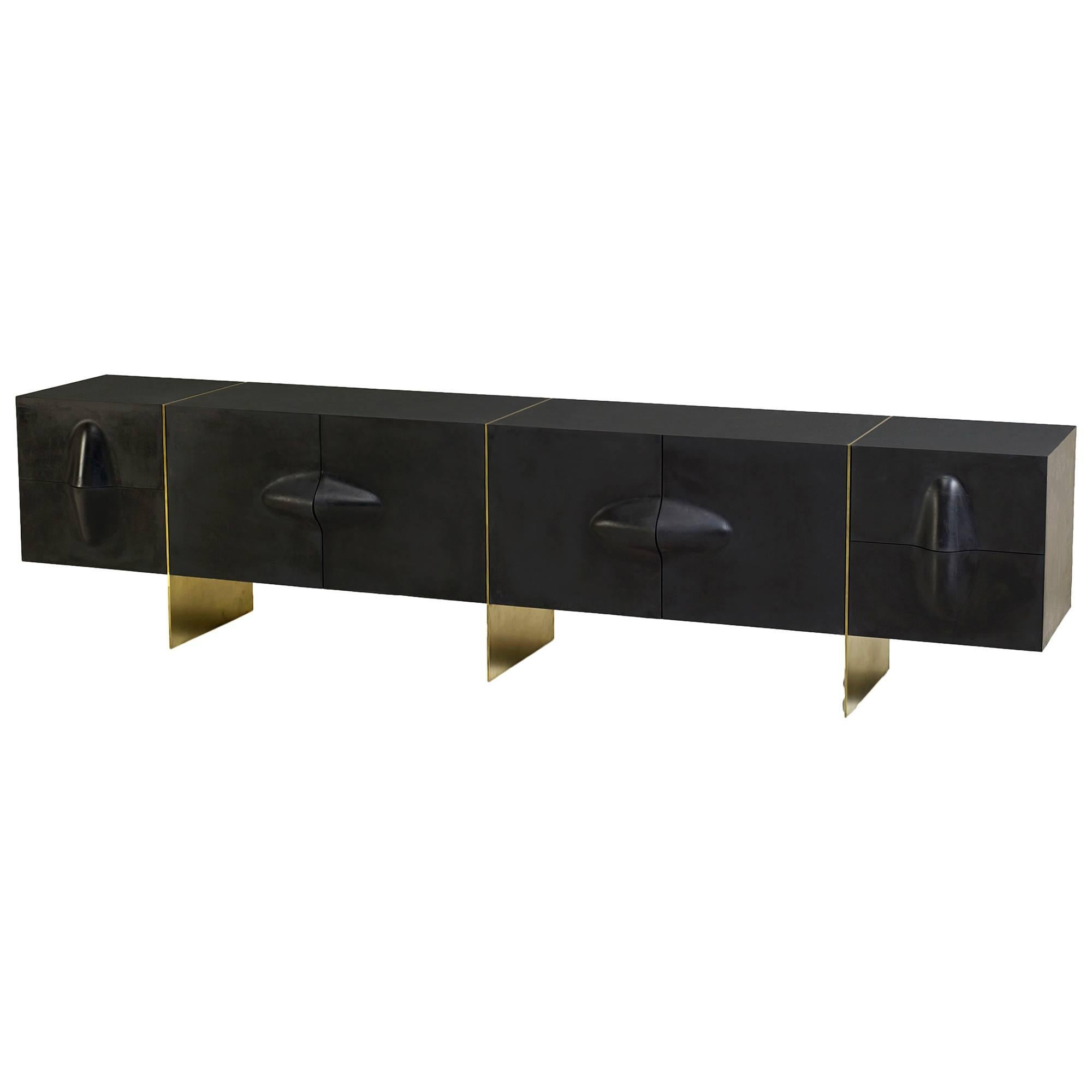 Large Brian Thoreen Rubber And Brass Credenza Or Sideboard For