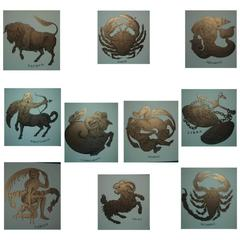 Rare Set of Ten Fornasetti Zodiac Prints, 1995