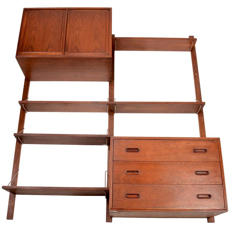 American Modern Walnut Wall Unit At 1stdibs