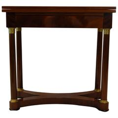 Mahogany Flip-Top Card Table with Leather Insert, circa 1880