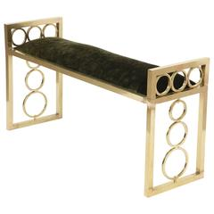 Italian Mid-Century Modern Brass Bench