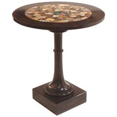 19th Century Table of Belgium Black Marble with Specimen Marble Top
