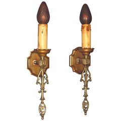 French Eclectic Style Single Bulb Sconces, 1920s