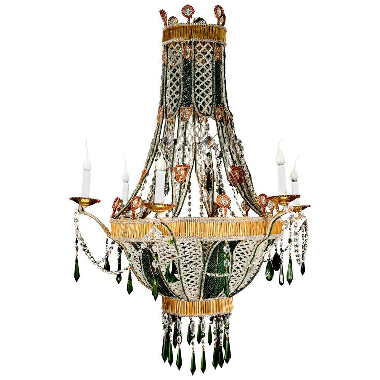 Unique Italian Louis XVI Style Amber Glass, Crystal and Green Glass Chandelier